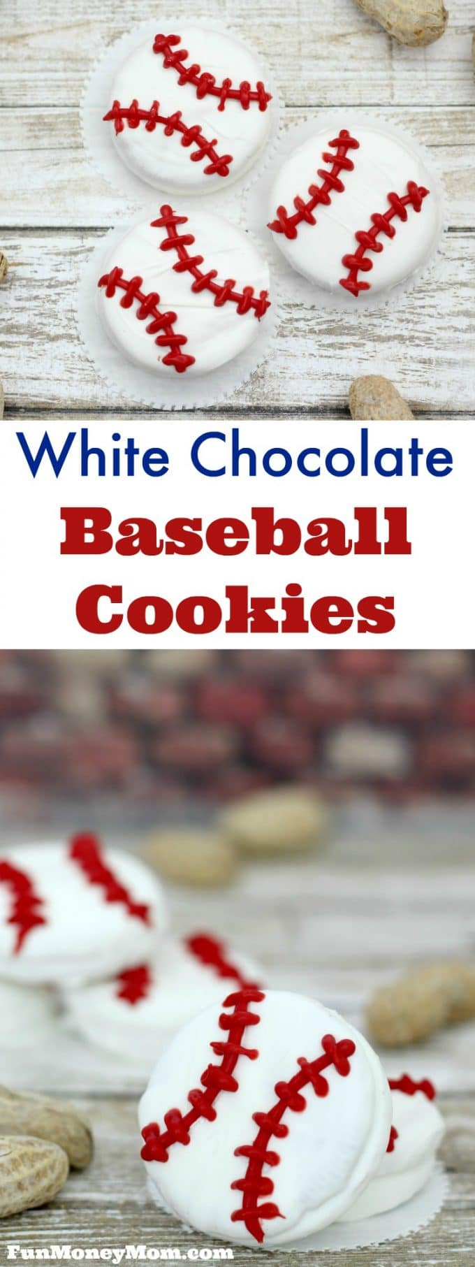 These white chocolate baseball cookies are perfect for your sports themed party, little league game or just a fun treat to enjoy while watching the game!