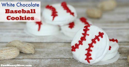 White chocolate baseball cookies