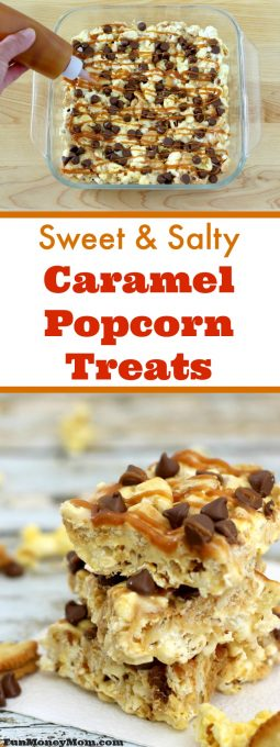 Need some yummy movie night snacks for your family movie night? This deliciously easy recipe for Sweet & Salty Caramel Popcorn Treats is perfect!