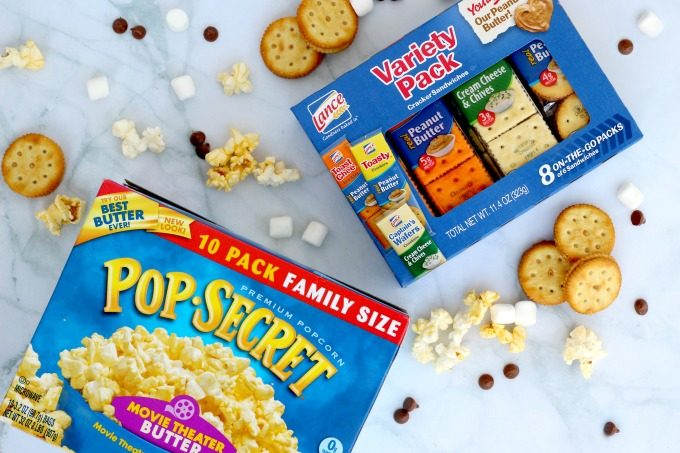 Popcorn and crackers combined make one of my favorite movie night snacks