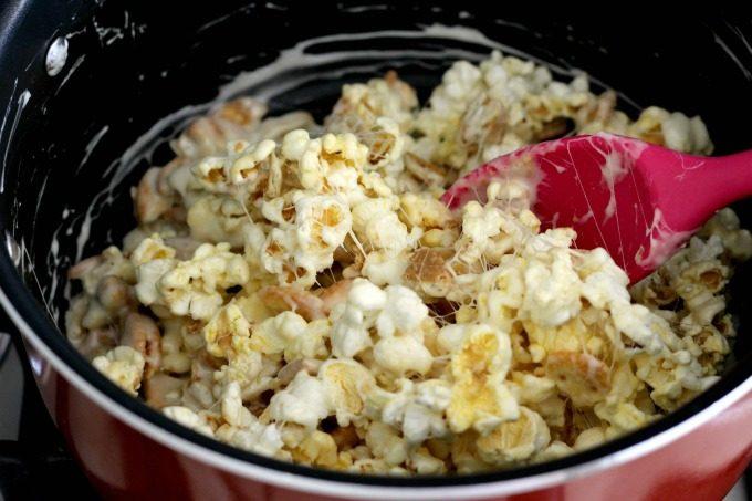 Mix the popcorn snack ingredients