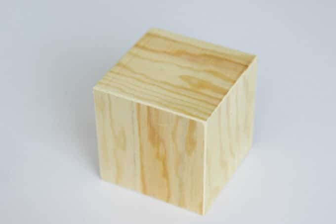 You'll need to start with a wooden cube for the DIY Photo Cube