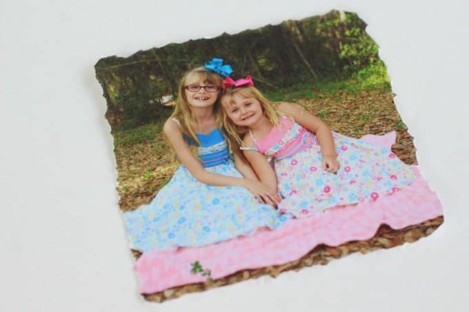 You can make your photo coasters with straight or jagged edges.