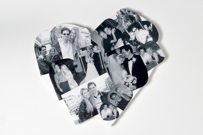 The next step in your DIY wall art is to cut and glue the pictures to the heart