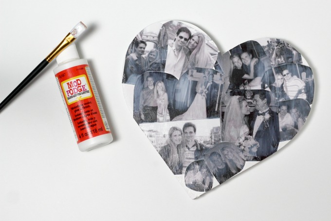 You can make your photo crafts last longer by painting them with Mod Podge