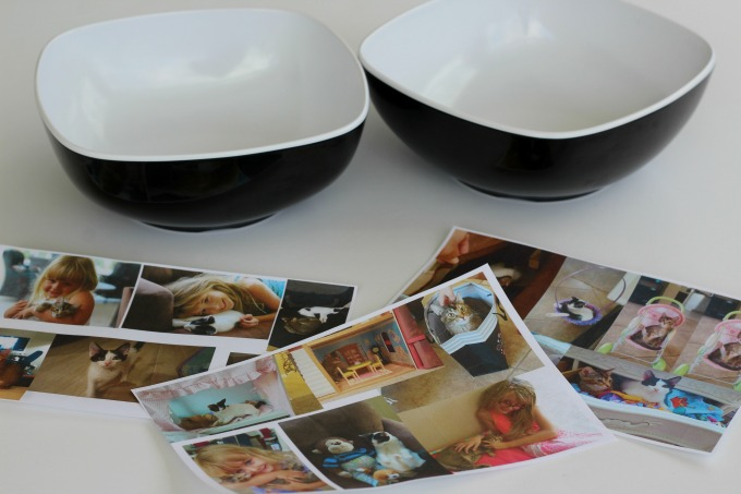 You can make your cute cat bowls using plastic or ceramic bowls.