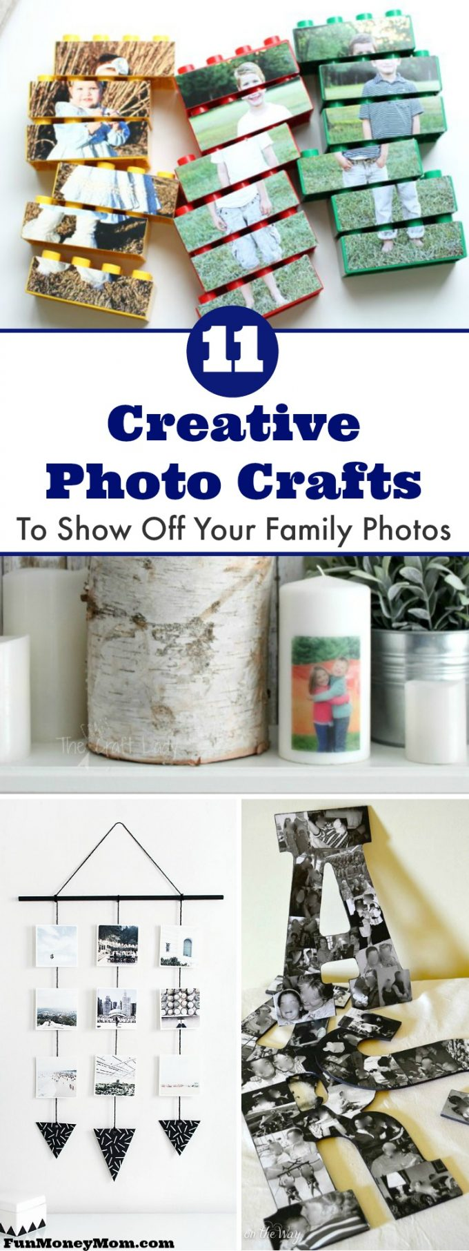 Don't hide your family photos in an album. You can easily display your photos with these creative photo crafts.