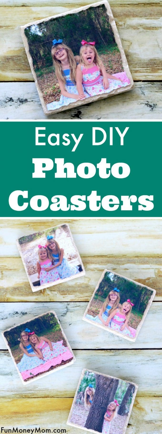 Whether you need drink coasters, a holiday gift or just want some pretty home decor, these easy DIY Tile Photo Coasters are perfect.