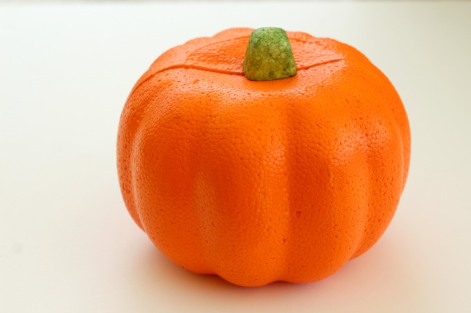 This foam pumpkin works perfectly for no carve pumpkin ideas
