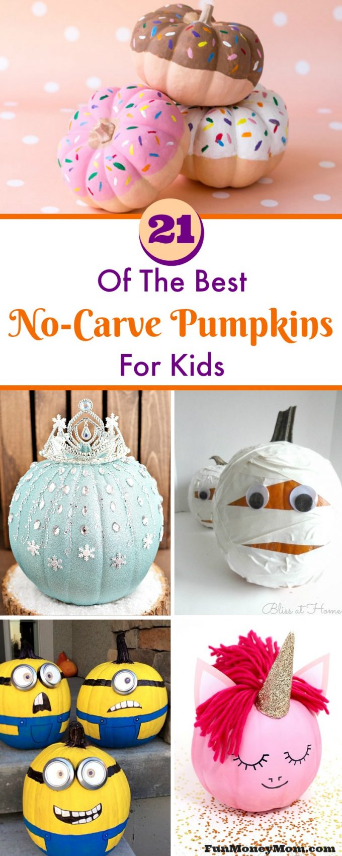 Ready to get started on your Halloween decorations? The kids are going to love these super cute no carve pumpkins!