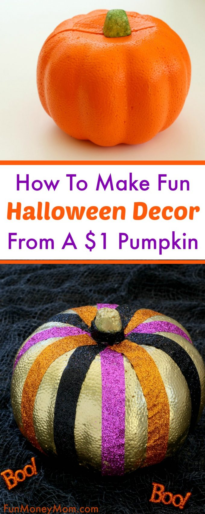 Check out how you can make fun Halloween decor from an ugly styrofoam pumpkin! Even better, let the kids help make this no carve pumpkin for a fun kids craft.