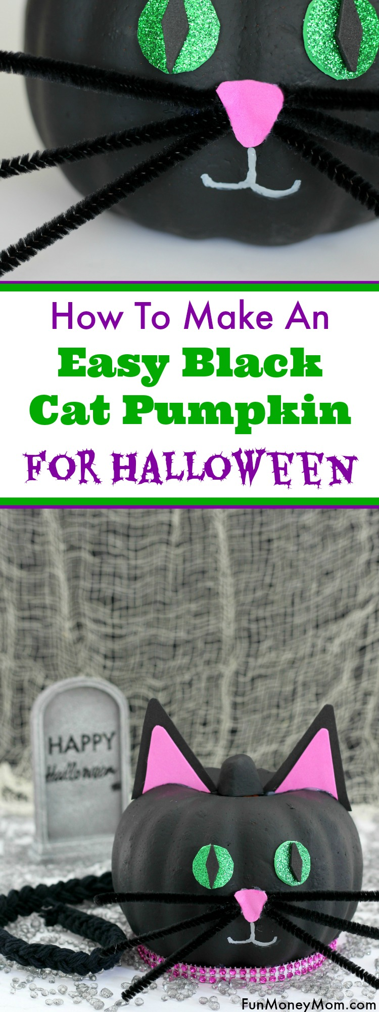 Love making no-carve pumpkins? Have a little Halloween fun making this easy black cat pumpkin!