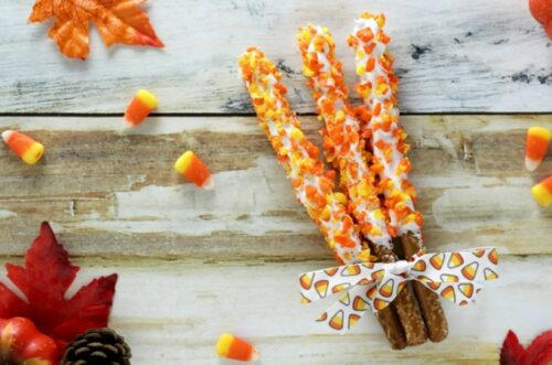 Candy corn pretzels three ways feature