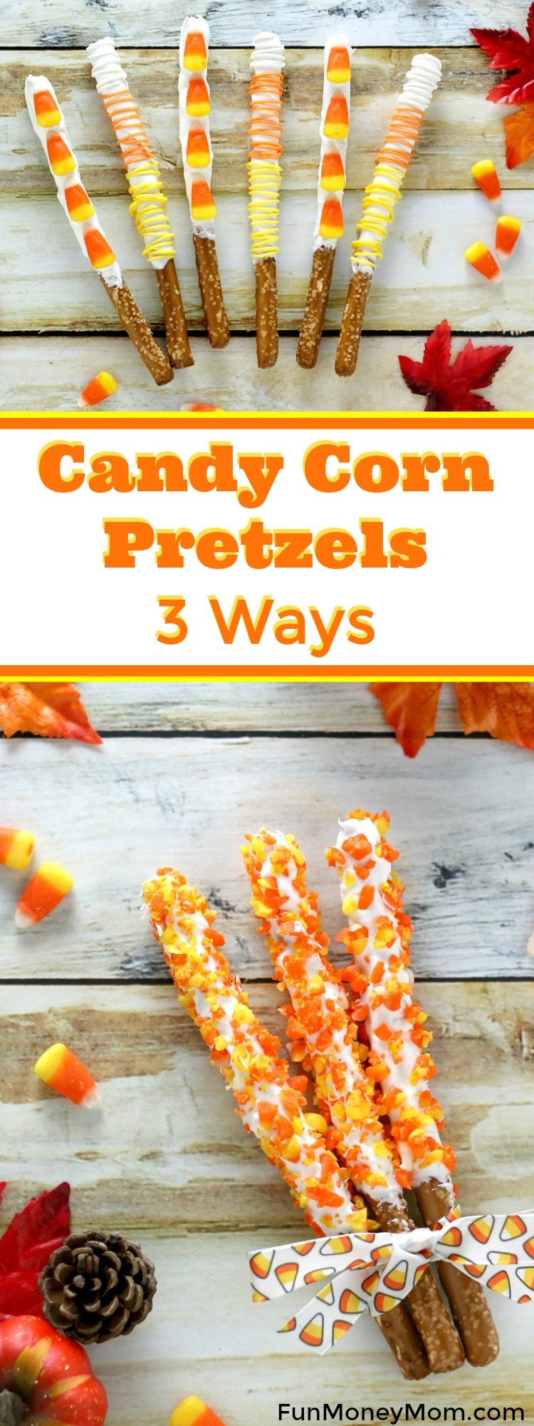 """Want a fun fall treat that you can make in a hurry? These Candy Corn Pretzels are not only delicious, they're super easy to make. Serve them at your Halloween party, add them to a """"Boo"""" Basket or turn them into a fun teacher gift."""