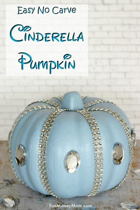 Cinderella Pumpkin - This no carve pumpkin is the perfect Halloween craft for girls. Made with a foam pumpkin, it also makes pretty Halloween decor! #pumpkin #pumpkindecorating #Halloweenpumpkin #Halloweencraft