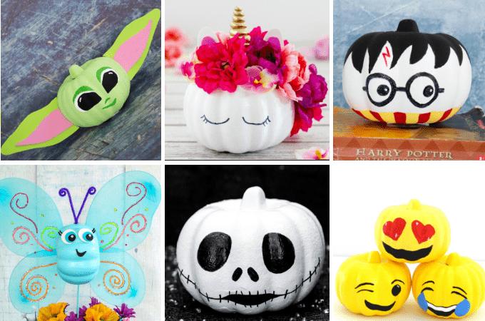 A collection of cute no carve pumpkins