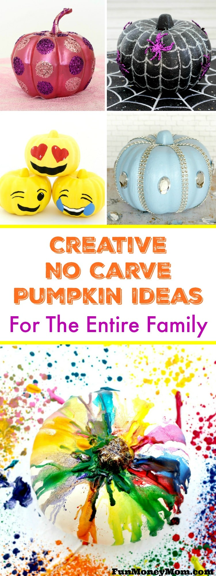 Planning to decorate pumpkins for Halloween? Your family will love these creative (and easy!) no carve pumpkin ideas.