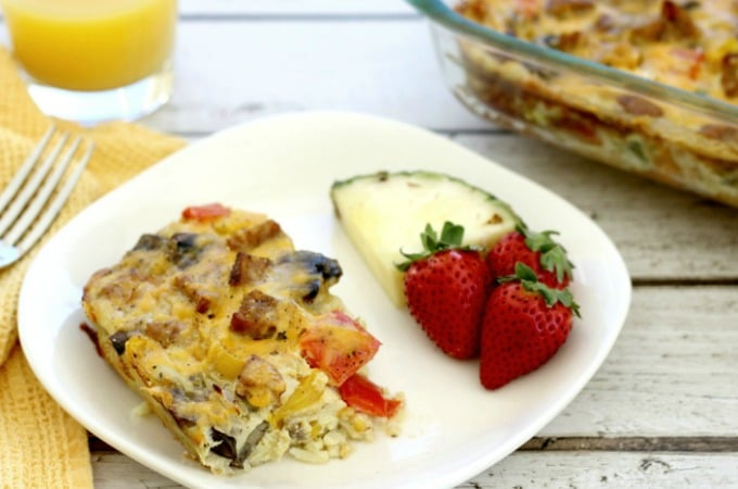 Fajita breakfast casserole with sausage feature
