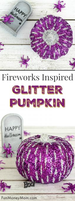 Get ready for Halloween with this fun, fireworks inspired Glitter Pumpkin. It's an easy, no carve pumpkin that the kids are going to love!
