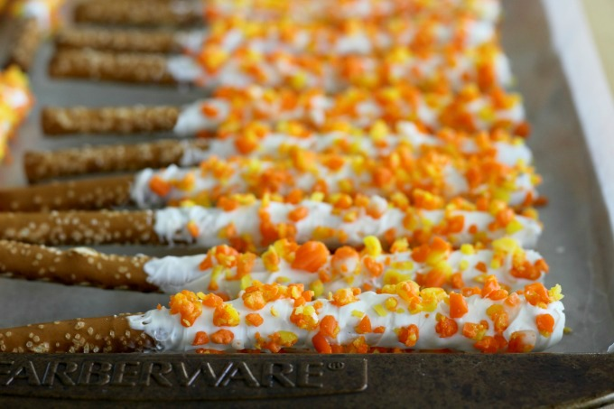 Refrigerate the candy corn pretzels until the chocolate hardens