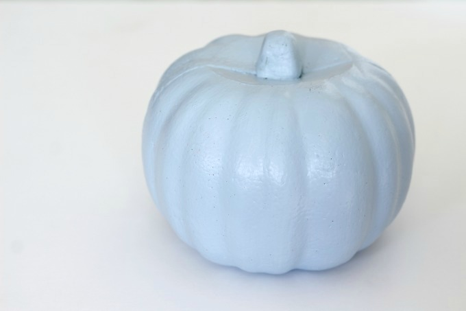 Paint your no carve Cinderella pumpkin light blue