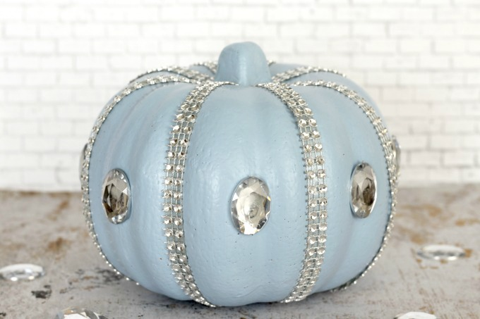 This no carve Cinderella pumpkin makes beautiful Halloween decor