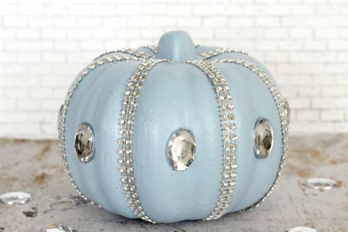 This no carve Cinderella pumpkin makes beautiful Halloween decor