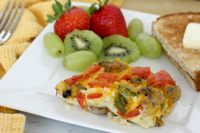 This fajita breakfast casserole goes great with fruit and toast.