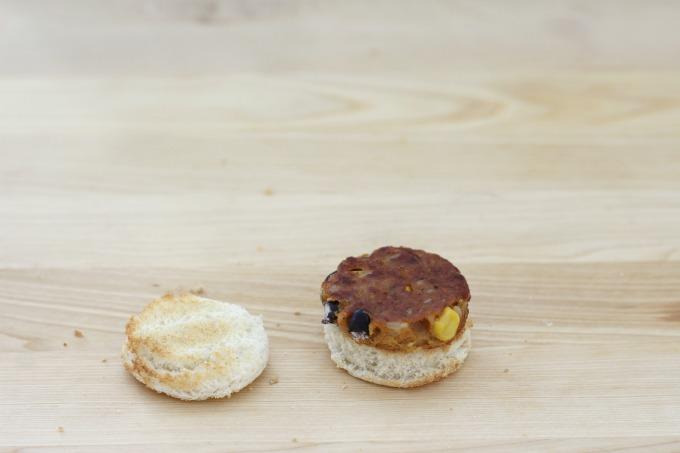 Now put your mini veggie burger together