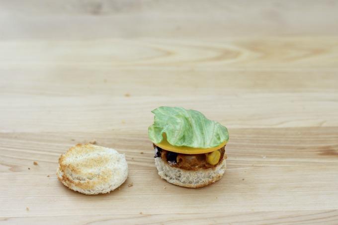 Add lettuce to your mini veggie burger