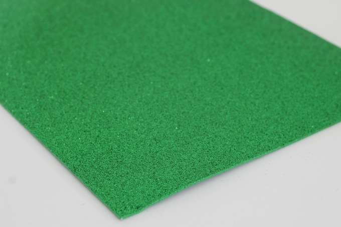 Sparkly green foam is perfect for the eyes