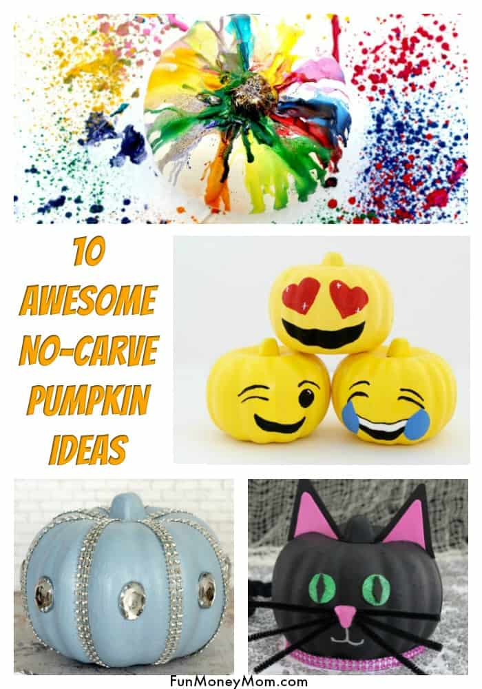 No Carve Pumpkins -Planning to decorate pumpkins for Halloween? Your family will love these creative (and easy!) no carve pumpkin ideas. They're a fun Halloween craft and make the perfect Halloween decor for the house! #nocarvepumpkin #pumpkindecorating #halloween #halloweenpumpkins #halloweenpumpkinideas