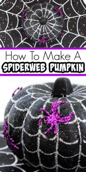 spiderweb pumpkin with purple spiders