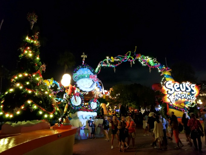 Seuss Landing is all lit up for Christmas