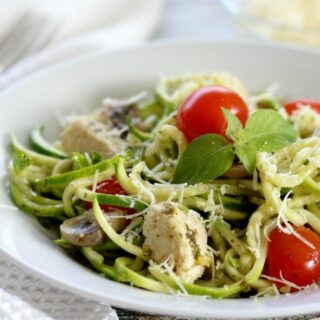 Zucchini Noodles With Pesto, Chicken And Mushrooms