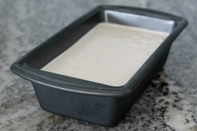 Pour the mixture for your White Chocolate Peppermint Ice Cream into a loaf pan