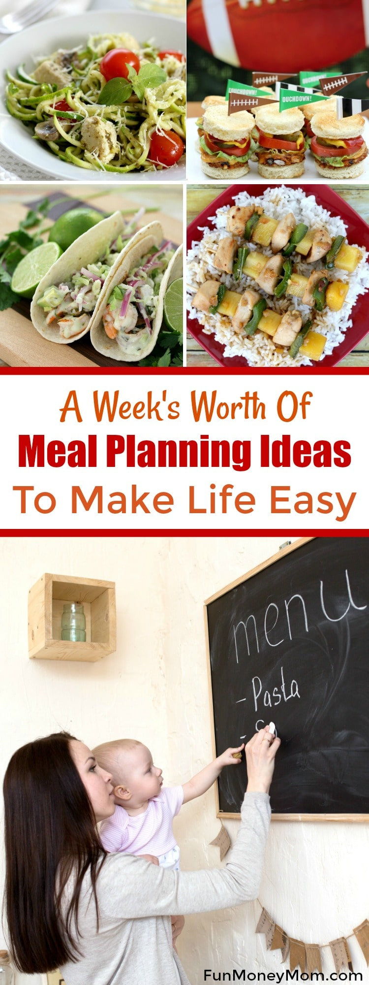 Want to simplify your life? Menu planning makes life so easy! When you plan out your dinner recipes ahead of time,you don't have to make multiple trips to the grocery store so you save money. Check out these yummy meal planning ideas to get started.