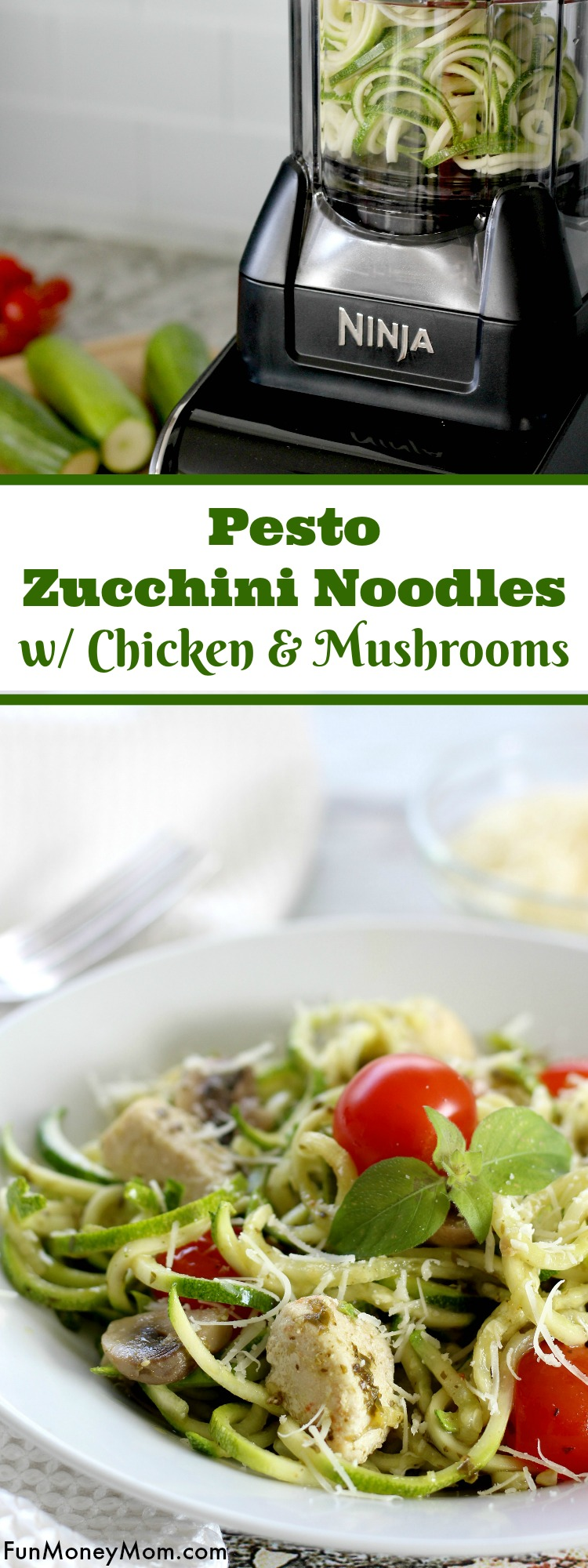 Looking for a healthy dinner recipe the entire family will love? The kids will love eating their veggies when you serve these delicious Pesto Zucchini Noodles With Chicken And Mushrooms.