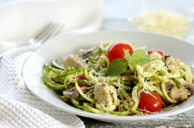 Pesto Zucchini Noodles with Chicken & Mushrooms