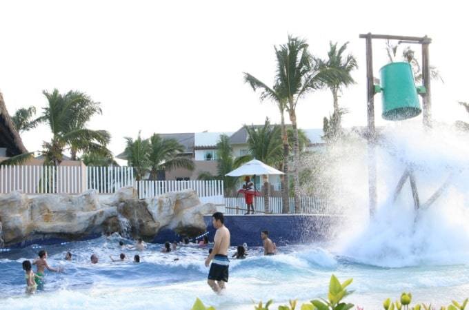 Kids love jumping the waves in the wave pool