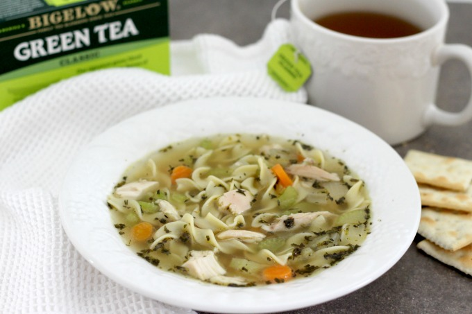 Homemade chicken noodle soup goes well with tea