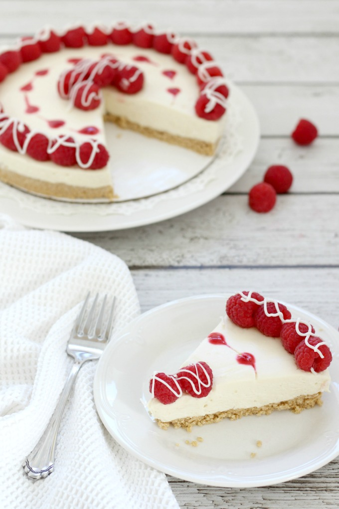I love this white chocolate raspberry cheesecake because it's as easy as it is delicious.