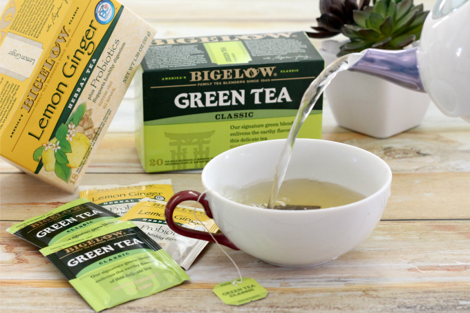 Pouring a cup of Bigelow Green Tea