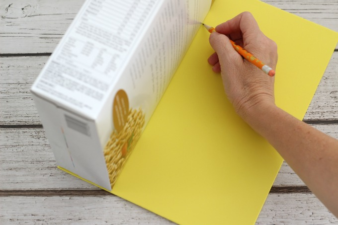 Start your Sponge Bob Valentine Box by tracing around the box on yellow craft foam.