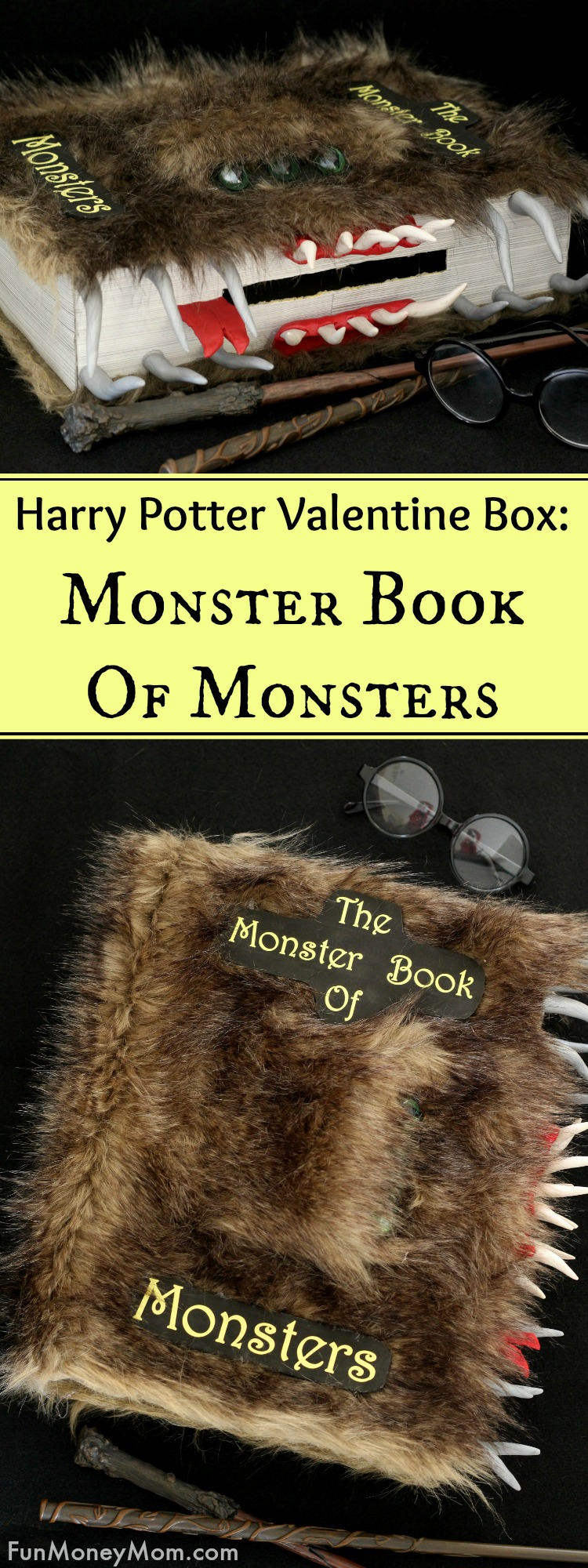 Harry Potter Valentine Box - This Monster Book Of Monsters Valentine Box is the perfect Valentine's Day Box for little Harry Potter fans. #harrypotter #harrypottervalentine #harrypottervalentinebox #monsterbookofmonsters #monsterbookofmonstersbox #monsterbookofmonstersvalentine #valentinebox #valentinesday