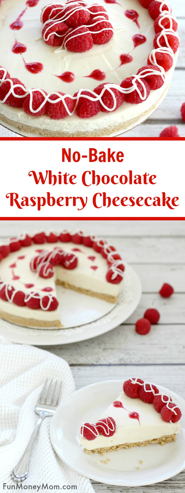 White Chocolate Raspberry Cheesecake - This no-bake cheesecake recipe is the perfect dessert for any occasion. It can be a Valentine's Day cake to show someone you love them or just an easy dessert recipe to enjoy when you're craving a sweet treat. Can you ever really go wrong with a white chocolate dessert?!
