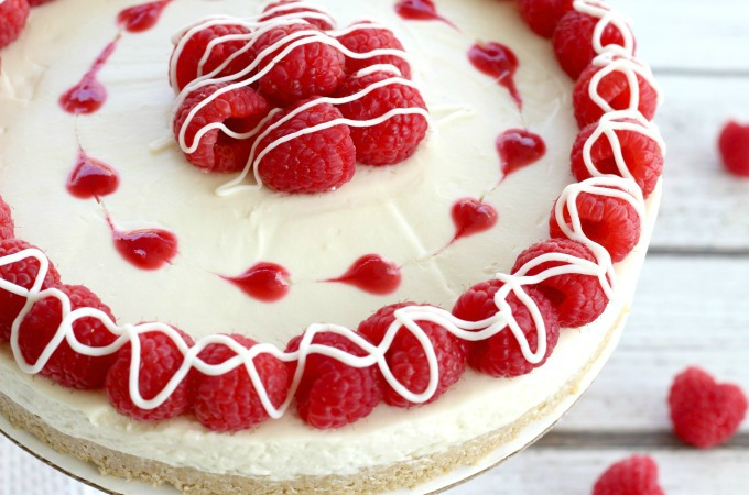 White chocolate raspberry cheesecake feature