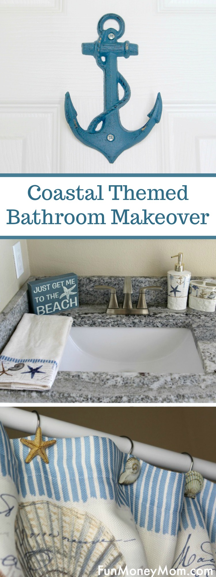 Coastal Themed Bathroom Makeover - Want to remodel your bathroom with a coastal theme? With the right coastal themed accessories and a little cleaning, your bathroom upgrade will be amazing! #ad #DGSpringCleanEssentials #bathroom makeover #remodel