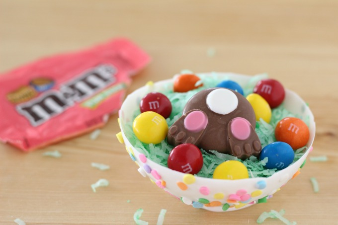 Add M&M'S and bunny butts to your edible chocolate bowls