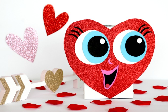 This heart shaped Valentine box is not only fun to make, it's easy for kids to do on their own.